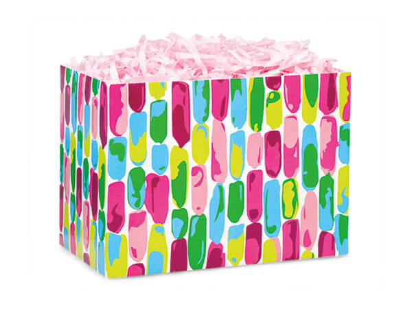 """Painted Gems Basket Box, Small 6.75x4x5"""", 6 Pack"""