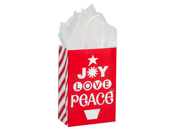Rose Peppermint Holiday Paper Bags 250  5-1/2x3-1/4x8-3/8""