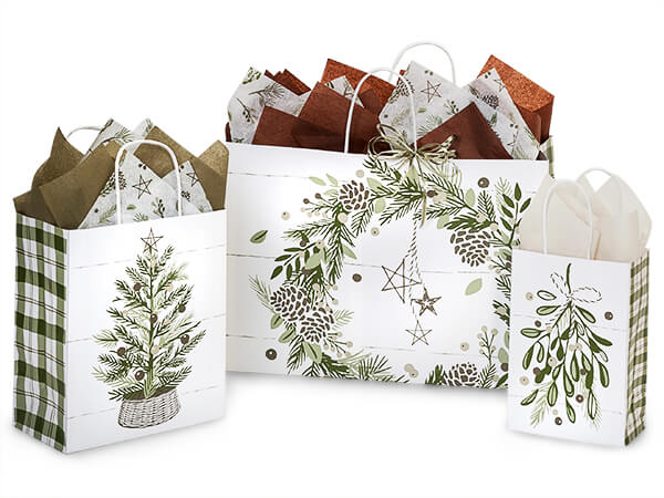 Pine Holiday Paper Shopping Bags