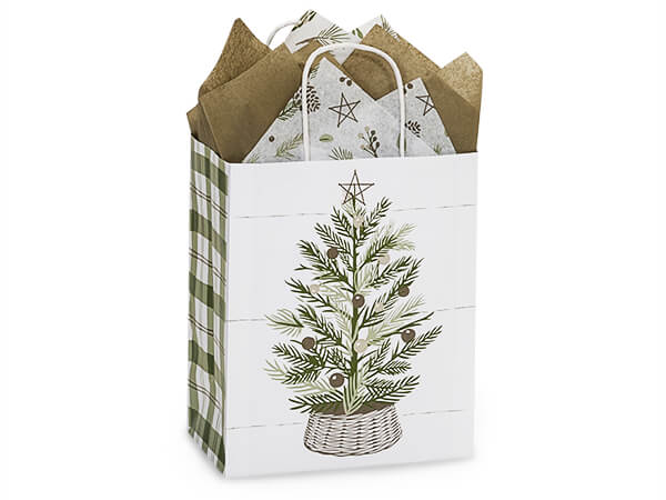 """Pine Holiday Paper Shopping Bags, Cub, 8x4.75x10.25"""", 250 Pack"""