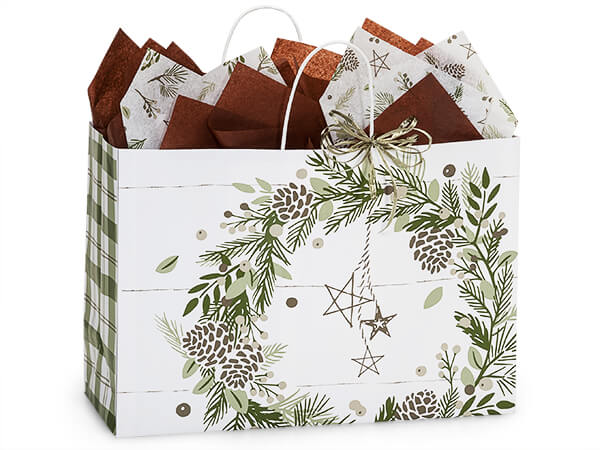 Pine Holiday Paper Shopping Bags, Vogue, 16x6x12, 250 Pack