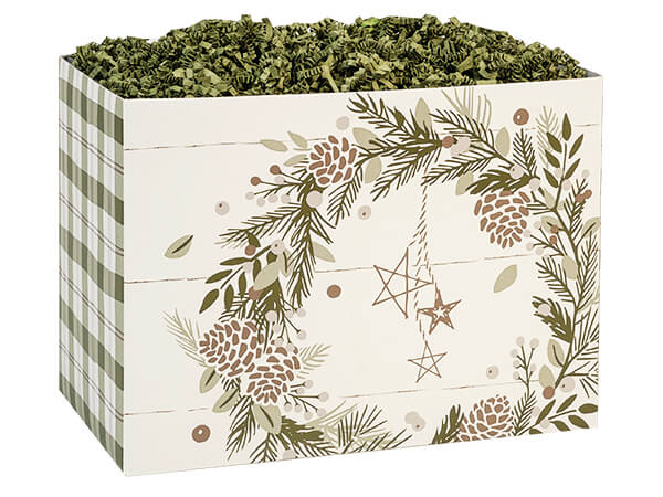 "Pine Holiday Basket Boxes Large 10.25x6x7.5"", 6 Pack"