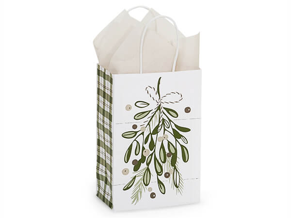 """Pine Holiday Paper Shopping Bags, Rose, 5.5x3.25x8.5"""", 25 Pack"""