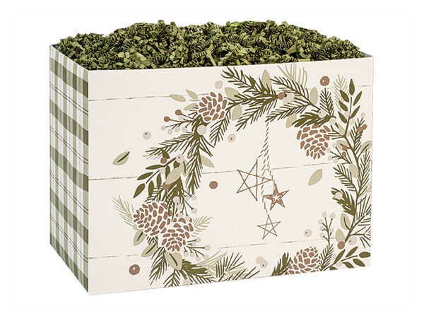 """Pine Holiday Basket Boxes Small 6.75x4x5"""", 6 Pack"""