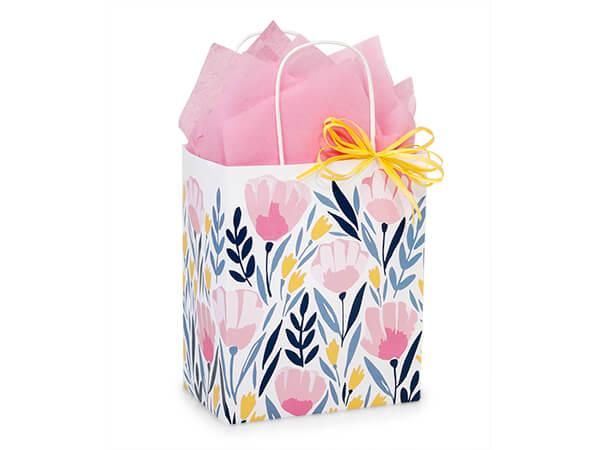 """Pink Petals Paper Shopping Bag, Cub 8x4.75x10.25"""", 250 Pack"""
