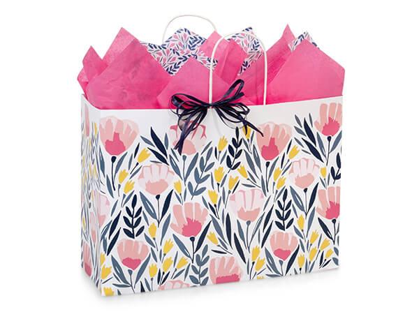 "Pink Petals Paper Shopping Bag, Vogue 16x6x12"", 250 Pack"