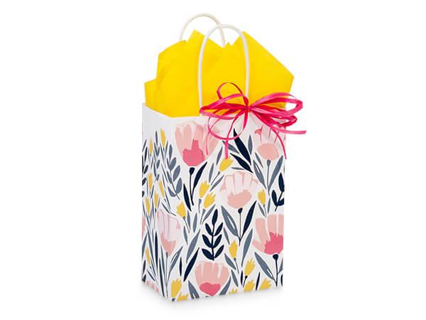 "Pink Petals Paper Shopping Bag, Rose 5.5x3.25x8.5"", 25 Pack"