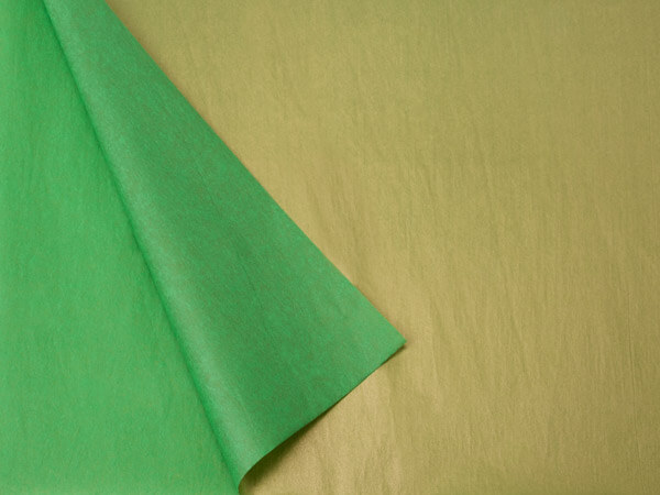 "Dark Green & Metallic Gold Tissue, 20x30"", Bulk 100 Sheet Pack"