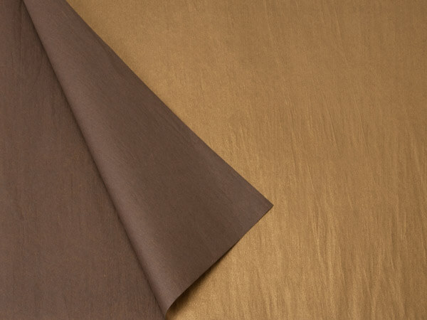 "Chocolate & Metallic Gold Tissue, 20x30"", Bulk 100 Sheet Pack"