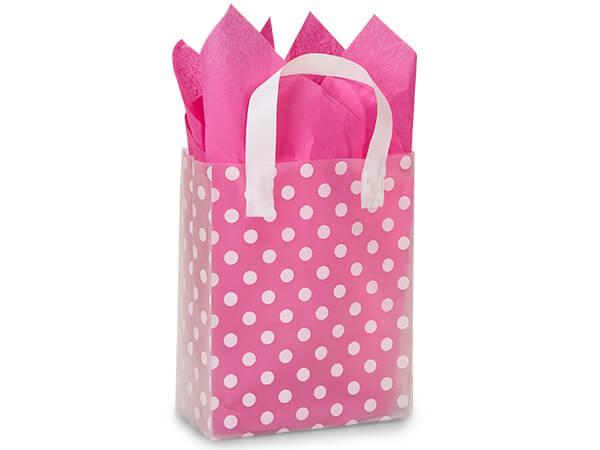"Polka Dot Plastic Gift Bags, Cub 8x4x10"", 100 Pack"