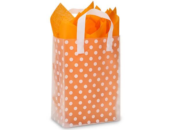 "Polka Dot Plastic Gift Bags, Carrier 9x5x12"", 100 Pack"