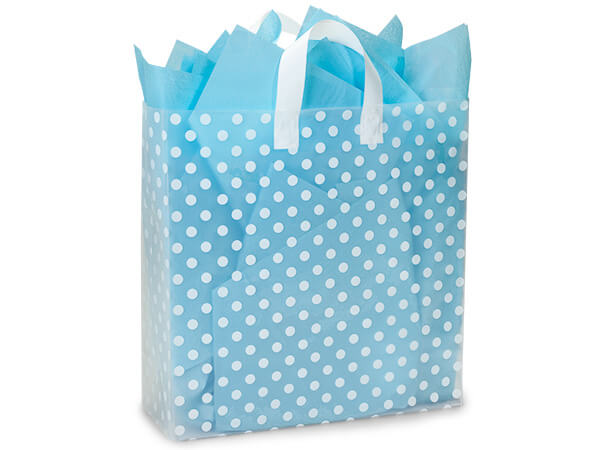"Polka Dot Plastic Gift Bags, Queen 16x6x16"", 100 Pack"