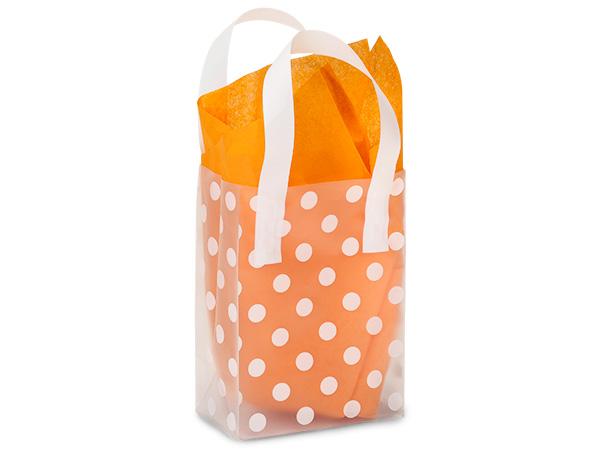 "Polka Dot Plastic Gift Bags, Rose 5x3x7"", 100 Pack"