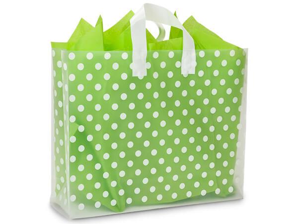 "Polka Dot Plastic Gift Bags, Vogue 16x5x12"", 100 Pack"