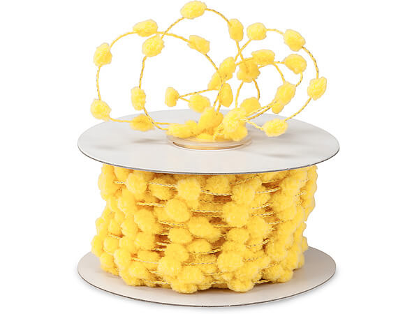 Yellow Wired Pom Pom Cord