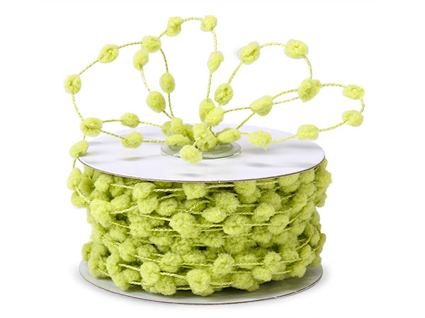 Lime Wired Pom Pom Cord 25 yds w/ Matching Color Wire