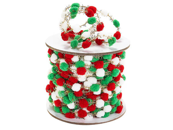 White,Red,and Green Pom Pom Cord, 25 yards