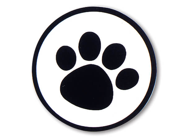 "500 Black Paw Print On Clear 1-1/2"" Round Seals"