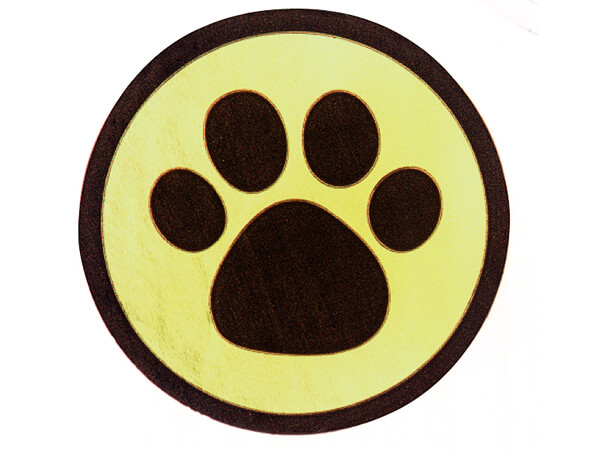 "500 Black Paw Print On Gold 1-1/2"" Round Foil Seals"