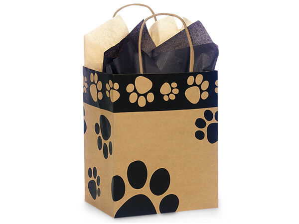 "Paw Print Kraft Shopping Bags Cub 8x4.75x10.25"", 250 Pack"