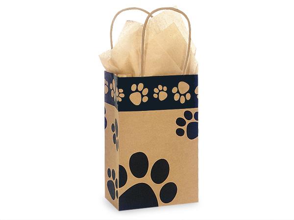 "Rose Paw Print Kraft Shopping Bags 25 Pk 5-1/2x3-1/4x8-3/8"""