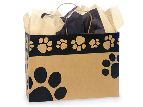 "Paw Print Kraft Shopping Bags Vogue 16x6x12"", 25 Pack"