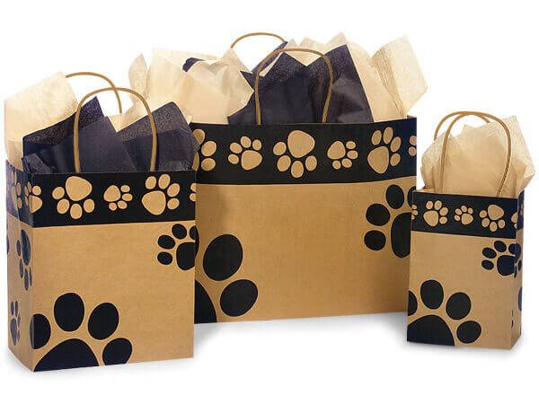 Paw Print Kraft Shopping Bags, Small 25 Pack Assortment