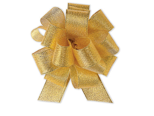 "Metallic Gold Sparkle Gift Pull Bow 4-1/2"" - 18 Loops - Fabric Gift Bo"