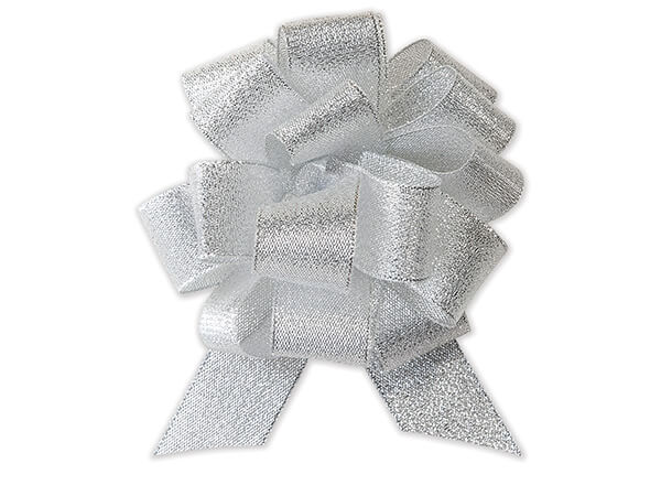 "Metallic Silver Sparkle Pull Bow 4-1/2"" - 18 Loops - Fabric Gift Bow"