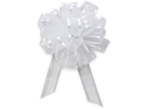 """White Sheer with Satin Edge 4"""" - 18 Loops- Organza Pull Bow"""