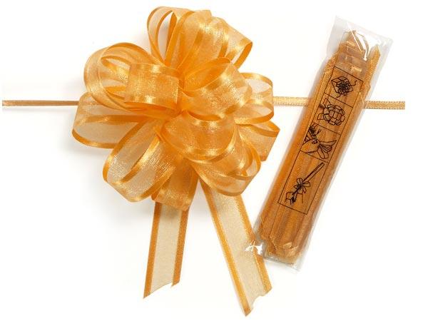 """4"""" Gold Satin Edge Sheer Organza Pull Bow, 12 pack"""