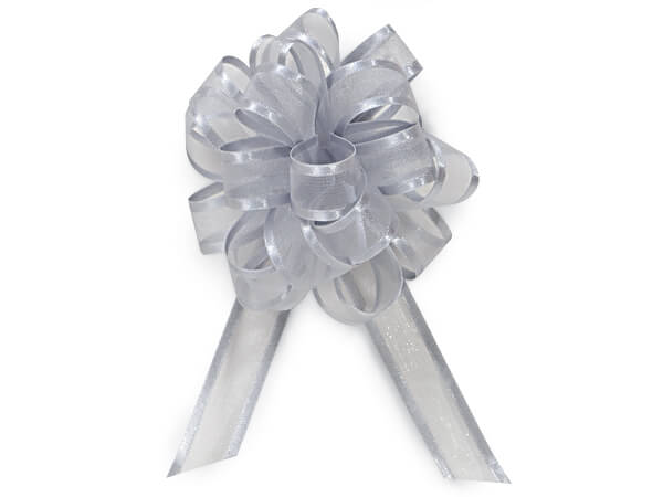 "Silver Sheer Sheer with Satin Edge 4"" - 18 Loops- Organza Pull Bow"