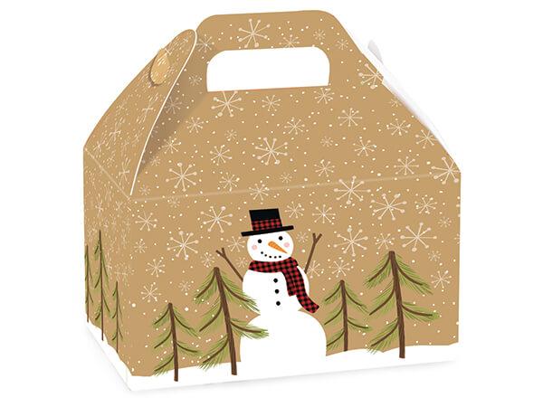 "Plaid Snowman Kraft Gable Box, 8.5x5x5.5"", 6 Pack"