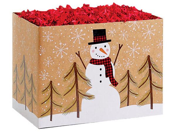 Plaid Snowman Kraft Basket Boxes
