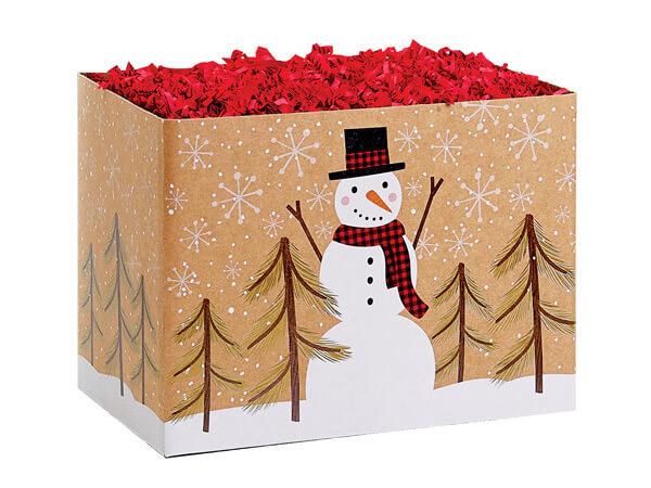"Plaid Snowman Kraft Basket Boxes, Small, 6.75x4x5"", 6 Pack"