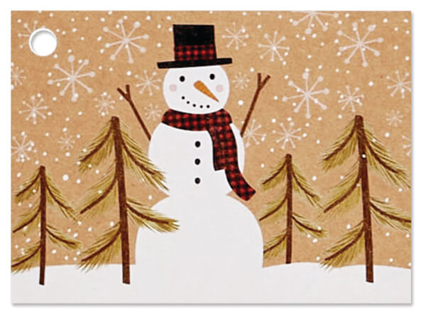 "Plaid Snowman Kraft Theme Cards 3.75x2.75"", 6 Pack"