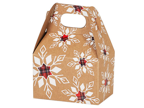 "Plaid Snowflakes Kraft Mini Gable Boxes,4x2.5x2.5"", 6 Pack"