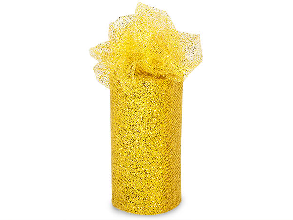 "Gold Sparkle Party Tulle Ribbon, 6""x25 yards"