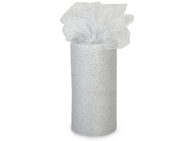"""Silver Sparkle Party Tulle Ribbon, 6""""x25 yards"""