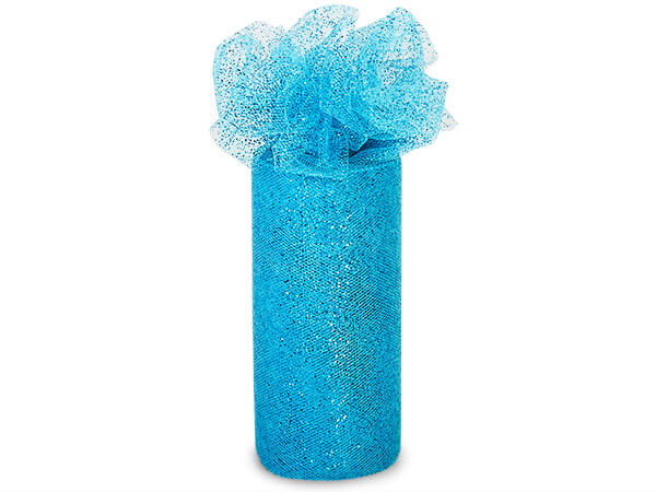 """Teal Sparkle Party Tulle Ribbon, 6""""x25 yards"""