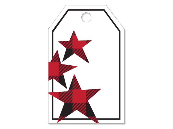 Buffalo Plaid Stars Gloss Printed Gift Tag 2-1/4x3-1/2""