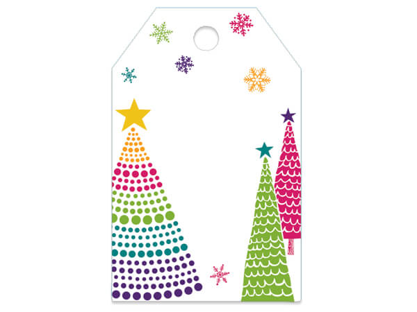 "Bright Trees Gloss Printed Gift Tags, 2-1/4x3-1/2"", 50 Pack"