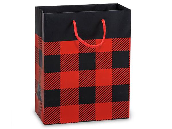 "Buffalo Plaid Matte Gift Bags, Cub 8x4x10"", 100 Pack"