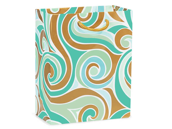 "Coastal Paradise Gloss Gift Bags, Cub 8x4x10"", 100 Pack"