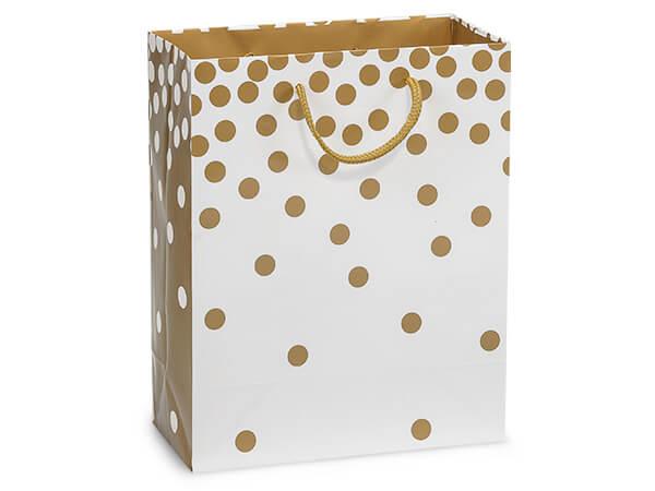 "Gold Dots Gloss Gift Bags, Cub 8x4x10"", 100 Pack"