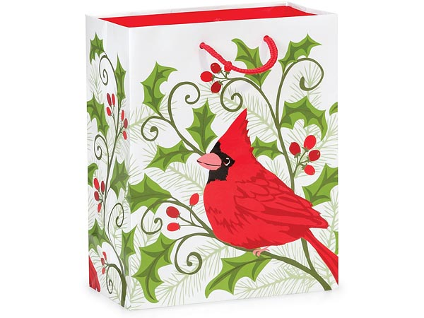 "Holly Berry Cardinal Gloss Gift Bags, Cub 8x4x10"", 100 Pack"