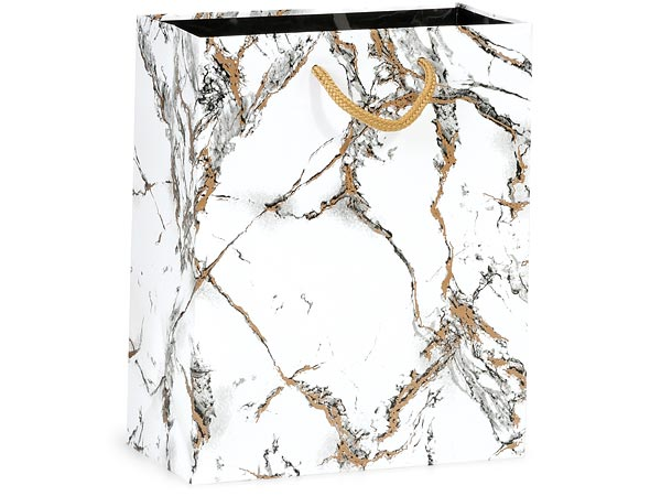 "Marble Gloss Gift Bags, Cub 8x4x10"", 100 Pack"