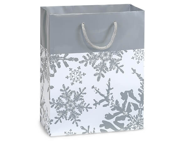 "Silver Snowflakes Gloss Gift Bags, Cub 8x4x10"", 100 Pack"
