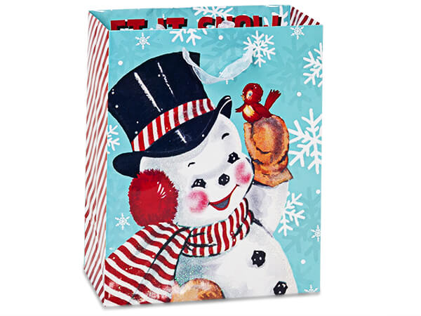 "Vintage Christmas Gift Bags, Cub 8x4x10"", 100 Pack"