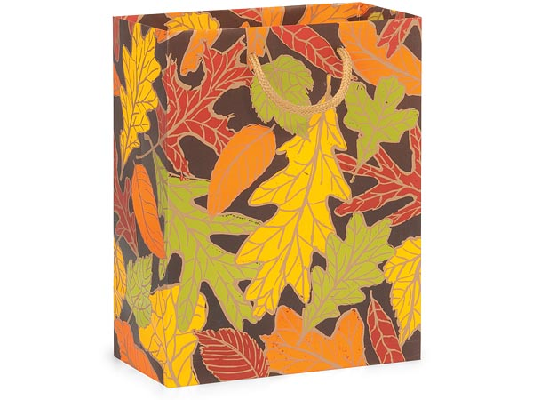 "Autumn Leaves Matte Gift Bags, Cub 8x4x10"", 10 Pack"
